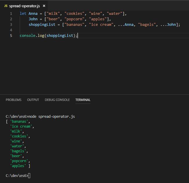 Spread operator en EMACScript 6